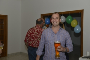 The birthday boy with his official beer glass... before it broke!