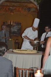 Making the wedding cake.